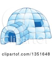 Clipart Of A Cartoon Blue Icy Igloo Dwelling Royalty Free Vector Illustration