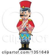 Clipart Of A Cartoon Happy Male Soldier Drummer Royalty Free Vector Illustration by visekart
