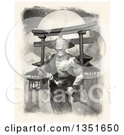 Clipart Of A Samurai Spirit Warrior Grasping His Kantana Against A Full Moon Royalty Free Illustration