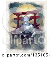 Clipart Of A Painted Samurai Spirit Warrior Grasping His Kantana Against A Full Moon Royalty Free Illustration