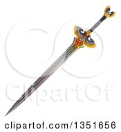 Clipart Of A 3d Winged Sword Royalty Free Illustration by Tonis Pan