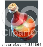Potion Bottle With Red Liquid Over Gray
