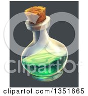 Potion Bottle With Green Liquid Over Gray