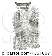 Clipart Of A Pencil Sketched Japanese Gate To Heaven Royalty Free Illustration by Tonis Pan