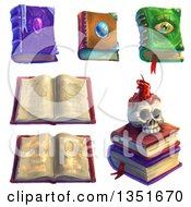 Magic Spell Books And A Skull