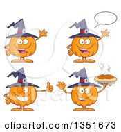 Clipart Of Cartoon Halloween Pumpkin Character Wearing A Witch Hat In Different Poses Royalty Free Vector Illustration