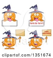Clipart Of Cartoon Halloween Pumpkin Character Wearing A Witch Hat In Different Poses With Signs Royalty Free Vector Illustration