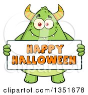 Clipart Of A Cartoon Chubby Green Horned Monster Holding A Happy Halloween Sign Royalty Free Vector Illustration