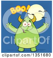 Clipart Of A Cartoon Chubby Green Horned Monster With Open Arms Under Boo Halloween Text A Full Moon And Bats On Blue Royalty Free Vector Illustration
