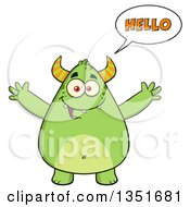 Clipart Of A Cartoon Talking Chubby Green Horned Monster Saying Hello With Open Arms Royalty Free Vector Illustration