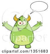 Clipart Of A Cartoon Talking Chubby Green Horned Monster With Open Arms Royalty Free Vector Illustration
