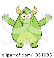 Cartoon Chubby Green Horned Monster With Open Arms