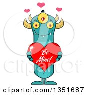 Clipart Of A Turquoise Three Eyed Horned Monster Holding A Be Mine Valentines Day Heart Royalty Free Vector Illustration