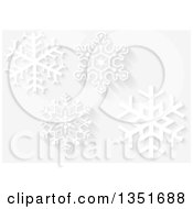 Christmas Background Of White Snowflakes With Shadows On Gray