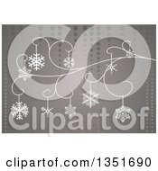 Christmas Background Of Snowflakes On A Swirl Over Gray And Dots