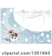 Clipart Of A Snowman Presenting A Merry Christmas And Happy New Year Greeting In The Snow Royalty Free Vector Illustration