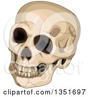 Clipart Of A Cracked Human Skull Royalty Free Vector Illustration