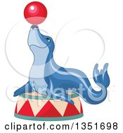 Clipart Of A Blue Circus Seal Balancing A Ball On His Nose Royalty Free Vector Illustration