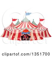 Clipart Of A Cartoon Big Top Circus Tent With Lights In The Entrance Royalty Free Vector Illustration by Pushkin
