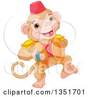 Cartoon Cute Performing Circus Monkey Playing Cymbals
