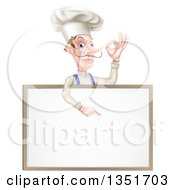 White Male Chef With A Curling Mustache Gesturing Ok And Pointing Down At A Blank White Menu Board
