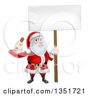 Clipart Of A Happy Plumber Christmas Santa Claus Holding A Plunger And Blank Sign 2 Royalty Free Vector Illustration