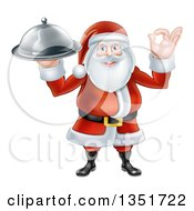 Clipart Of A Happy Christmas Santa Claus Gesturing Ok And Holding A Food Cloche Platter Royalty Free Vector Illustration