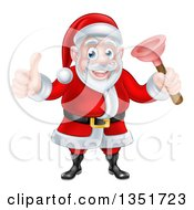 Clipart Of A Happy Christmas Santa Claus Plumber Holding A Plunger And Giving A Thumb Up 5 Royalty Free Vector Illustration