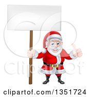 Cartoon Happy Christmas Santa Claus Holding A Blank Sign And Giving A Thumb Up 3