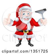 Clipart Of A Christmas Santa Claus Giving A Thumb Up And Holding A Window Cleaning Squeegee 5 Royalty Free Vector Illustration