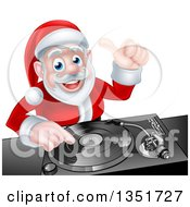 Clipart Of A Happy Christmas Santa Claus Dj Mixing Music On A Turntable And Giving A Thumb Up Royalty Free Vector Illustration