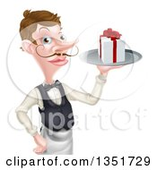 Cartoon Caucasian Male Waiter With A Curling Mustache Holding A Gift On A Platter