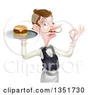 Clipart Of A Cartoon Caucasian Male Waiter With A Curling Mustache Holding A Cheeseburger On A Platter And Gesturing Ok Royalty Free Vector Illustration