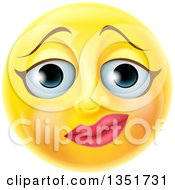 Clipart Of A 3d Yellow Female Smiley Emoji Emoticon Face With A Nervous Expression Royalty Free Vector Illustration
