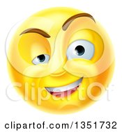 Clipart Of A 3d Yellow Charming Flirty Male Smiley Emoji Emoticon Face Royalty Free Vector Illustration