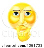 Clipart Of A 3d Thinking Yellow Male Smiley Emoji Emoticon Face Touching His Chin Royalty Free Vector Illustration