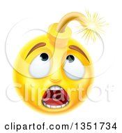 Clipart Of A 3d Scared Yellow Male Smiley Emoji Emoticon Face Bomb Royalty Free Vector Illustration by AtStockIllustration