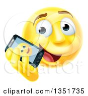 Clipart Of A 3d Yellow Male Smiley Emoji Emoticon Face Talking On A Smart Phone Royalty Free Vector Illustration by AtStockIllustration
