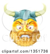 Clipart Of A 3d Angry Yellow Male Smiley Emoji Emoticon Viking Warrior Face Royalty Free Vector Illustration by AtStockIllustration