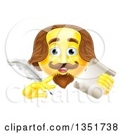 Clipart Of A 3d Yellow Shakespeare Smiley Emoji Emoticon Holding A Feather Quill Pen And Scroll Royalty Free Vector Illustration