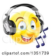 Clipart Of A 3d Yellow Male Smiley Emoji Emoticon Face Listening To Music Through Headphones Royalty Free Vector Illustration by AtStockIllustration