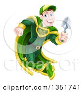 Clipart Of A Middle Aged Brunette Caucasian Male Super Hero Running With A Garden Trowel Royalty Free Vector Illustration by AtStockIllustration