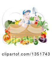 Clipart Of A Middle Aged Brunette White Male Gardener In Blue Holding Up A Garden Spade And Giving A Thumb Up Over A Blank Wood Sign With Produce Royalty Free Vector Illustration