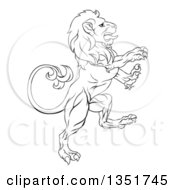 Clipart Of A Black And White Ouline Of A Rampant Lion Royalty Free Vector Illustration