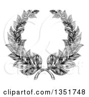 Clipart Of A Black And White Engraved Laurel Wreath Royalty Free Vector Illustration