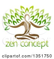 Clipart Of A Brown Person Meditating And Forming The Trunk Of A Tree Over Sample Text Royalty Free Vector Illustration