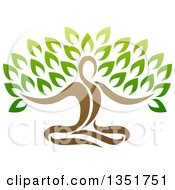 Clipart Of A Brown Relaxed Person Meditating And Forming The Trunk Of A Tree Royalty Free Vector Illustration by AtStockIllustration