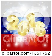 Clipart Of A 3d Gold 2016 Burst And Fireworks Over A Russian Flag Royalty Free Vector Illustration by AtStockIllustration