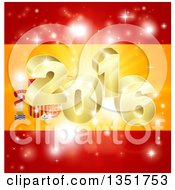 Clipart Of A 3d Gold 2016 Burst And Fireworks Over A Spanish Flag Royalty Free Vector Illustration by AtStockIllustration