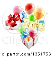 3d Gold New Year 2016 Popping Out Of A Gift On A Spring With Party Balloons
